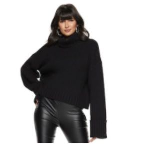 Women's Wool-Blend Cuff-Sleeve Turtleneck Sweater
